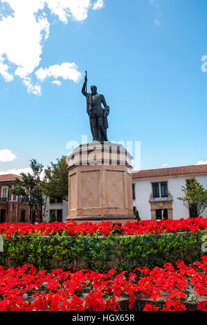 Statue of Miguel de Cervantes Saavedra in Bogota, Colombia - Stock Image