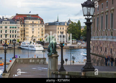 Shot from Gamla Stan (Old City), this image looks at the City along Lake Malaren. - Stock Image