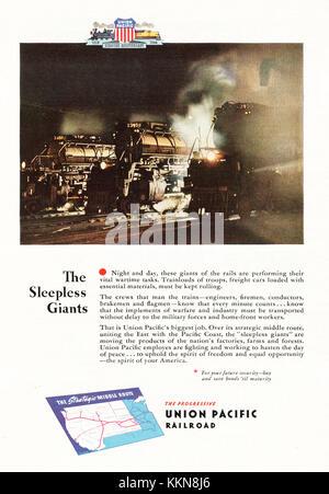 1943 U.S. Magazine  Union Pacific Railroads Advert - Stock Image