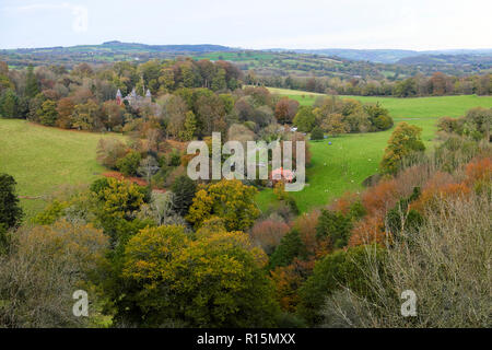 Newton House in Dinefwr Park woodland in autumn view from Dinefwr Castle Llandeilo Carmarthenshire South Wales UK  KATHY DEWITT - Stock Image