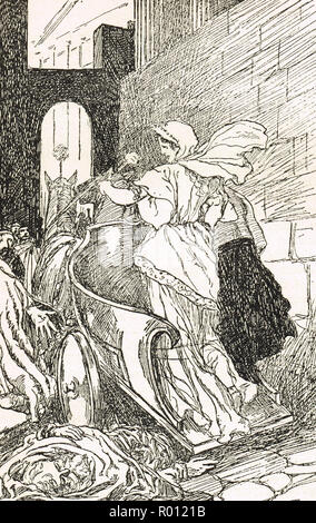 Tullia Minor driving over the body of her Father, Servius Tullius the legendary sixth king of Rome - Stock Image