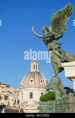 Angel Statue at Altare Della Patria (Monumento Nazionale a Vittorio Emanuele II) at the Santissimo Nome de Maria - Stock Image