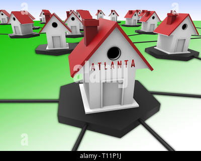 Atlanta Real Estate Houses Represent Housing Investment And Ownership. Selling Property In The Usa 3d Illustration. - Stock Image