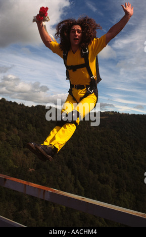 BASE Jumper jumping off Viaduc des Fades France - Stock Image
