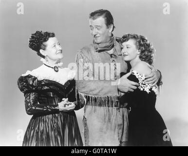 Odette Myrtil, John Wayne and Vera Ralston / The Fighting Kentuckian / 1949 directed by George Waggner  (Republic - Stock Image