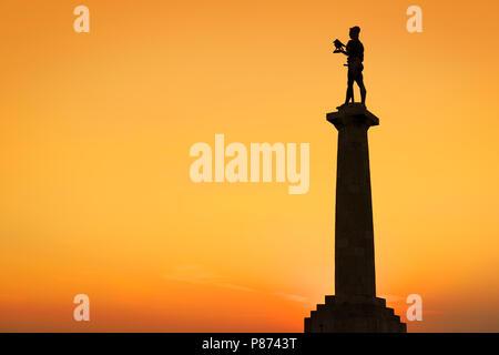 The Victor Monument, Pobednik, Kalemegdan, Belgrade, Serbia - Stock Image
