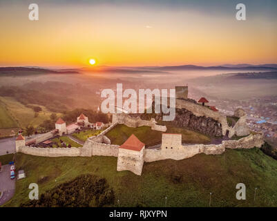 Sunrise in Romania landscape at the Rupea Fortress in Transylvania between Brasov and Sighisoara - Stock Image
