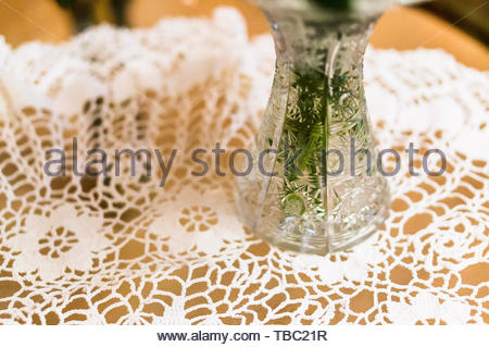 Glass vase bottom with plant standing on a table - Stock Image