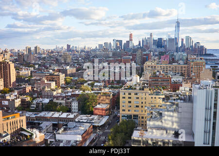View of the West Village, Greenwich Village and Downtown Manhattan from the Gansevoor Hotel terrace - Stock Image