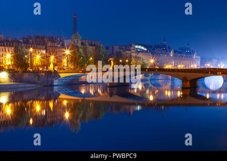 Night Seine, Paris, France - Stock Image