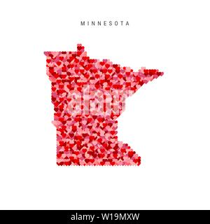 I Love Minnesota. Red and Pink Hearts Pattern Vector Map of Minnesota Isolated on White Background. - Stock Image