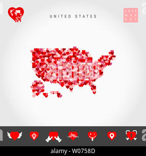 I Love United States. Red and Pink Hearts Pattern Map of the USA Isolated on Grey Background. Love Icon Set. - Stock Image