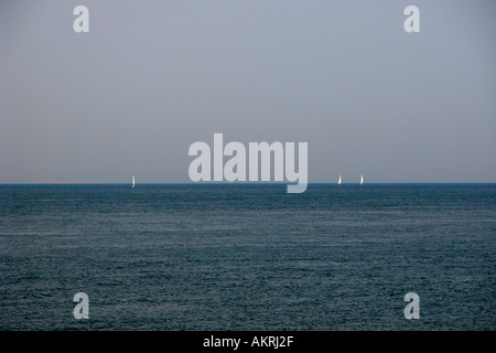 Sailing in Solent Dorset England - Stock Image