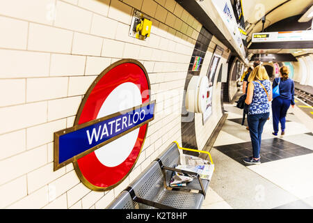 London Underground sign, London Underground Waterloo sign, Waterloo underground station sign, Waterloo underground station, Waterloo tube station, UK - Stock Image