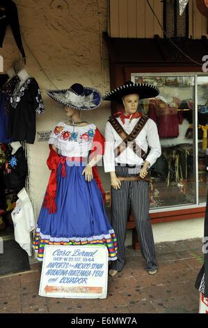 Mannequins dressed in Mexican clothing, Calle Olvera, or Olvera Street. El Pueblo de Los Angeles Historic Monument, - Stock Image