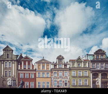 Retro toned picture of Poznan Old Town houses, Poland. - Stock Image