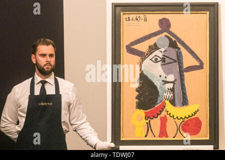 London UK. 19th June 2019.  'Buste d'homme' by Pablo Picasso,  oil on corrugated card laid down on panel, Estimate £1,000,000m which sold at hammer for £800,000 at the Impressionist & Modern Art Evening Auction  at Sotheby's London Credit: amer ghazzal/Alamy Live News - Stock Image