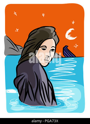 Refugees problem.  Refugee woman and a sinking boat in the sea. - Stock Image