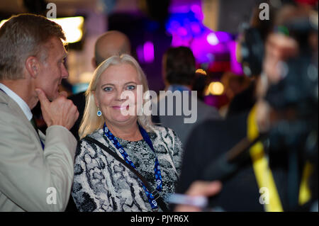 Stockholm, Sweden, September 9, 2018. Swedish General Election 2018.  Election Night Watch Party for Sweden Democrats (SD) in central Stockholm, Sweden. Kristina Winberg (SD). Credit: Barbro Bergfeldt/Alamy Live News - Stock Image