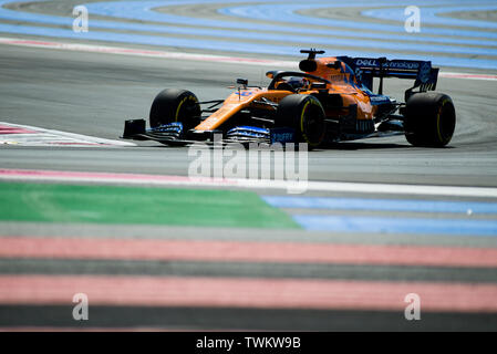Marseille, France. 21st June 2019, Circuit Automobile Paul Ricard, Le Castellet, Marseille, France ; FIA Formula 1 Grand Prix of France, practise sessions; Carlos Sainz of the Mclaren Team in action during free practice 1 Credit: Action Plus Sports Images/Alamy Live News - Stock Image