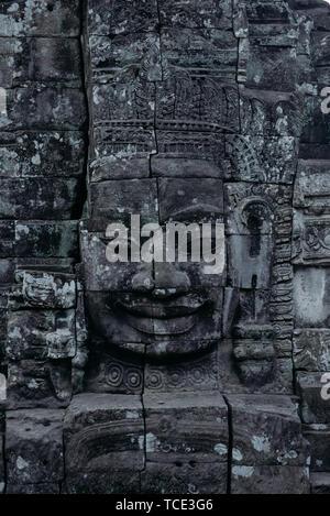 Close-up of a carving, Angkor Wat, Siem Reap, Cambodia - Stock Image