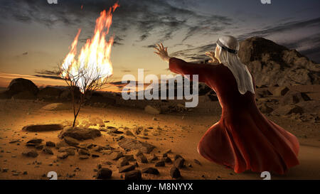 Moses and the burning bush. Story of book of exodus in bible. The shrub was on fire, but was not consumed by the - Stock Image