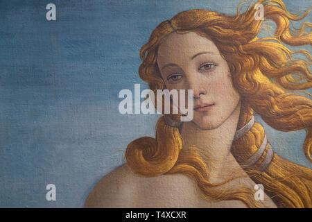 Birth of Venus, detail, Sandro Botticelli, circa 1485, Galleria degli Uffizi, Uffizi Gallery, Florence, Tuscany, Italy - Stock Image