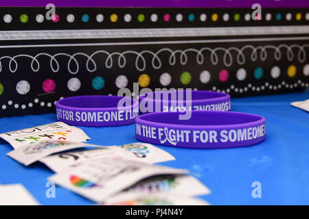 180830-N-IY469-049 – Stickers and bracelets were handed out to visitors of the cancer research rodeo. - Stock Image