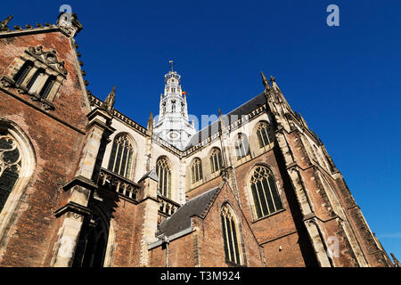 Tower of the St Bavo Church in Haarlem, the Netherlands. The church stands at the Grote Markt (market place). - Stock Image