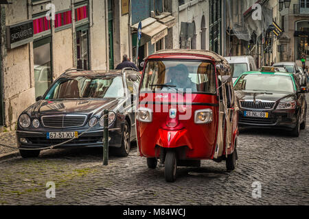 LISBON / PORTUGAL - FEBRUARY 17 2018: FUNNY SMALL RED CAR - Stock Image