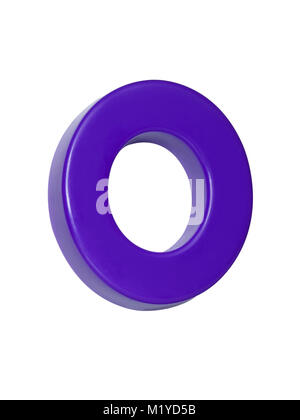 A cut out shot of a purple plastic letter 'O' - Stock Image