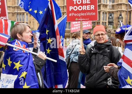 London, UK. 27th March, 2019. Remain Protesters. Anti Brexit Protest in Westminster, Houses of Parliament, Westminster, London. UK Credit: michael melia/Alamy Live News - Stock Image