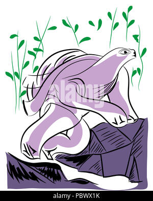 walking turtle.  illustration of turtle walking on the rocks and nature background. - Stock Image
