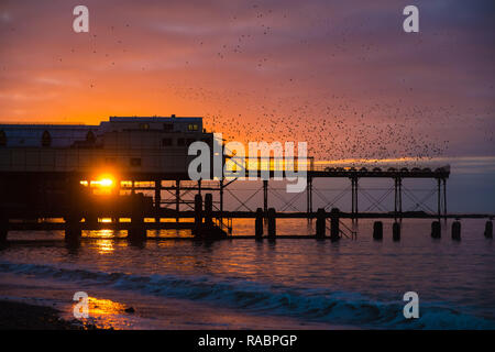 Aberystwyth Wales, UK. 03rd Jan, 2019. UK Weather: At the end of a grey dull and cold January day the sun makes a brief appearance as it sets over the Royal Pier in tandem with the roosting starlings in Aberystwyth on the Cardigan Bay coast of west Wales.Photo Credit: keith morris/Alamy Live News - Stock Image