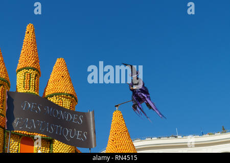 February 16th 2019 Menton, France, a witch flying during the 86th LEMON FESTIVAL during the Nice Carnival - Stock Image