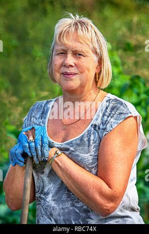 Susanne Bleakley, Plot 40, Eglinton Growers allotments, Kilwinning, Ayrshire, Scotland - Stock Image