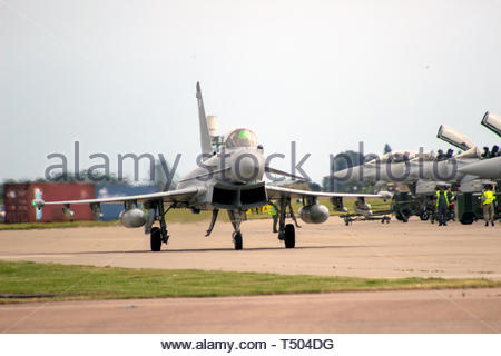 Eurofighter Typhoon taxiing towards take off - Stock Image