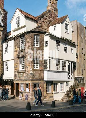 John Knox House, now Scottish Storytelling Centre, People's Story Museum Royal Mile, Edinburgh, Scotland, UK - Stock Image