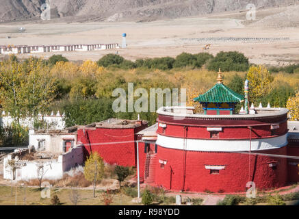 Now 1200 years old, Samye Monastery, beside the Yarlung Tsangpo. Guru Rinpoche founded Tibet's first monastery here. - Stock Image