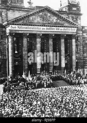 Nazi rally in front of the Reichstag. - Stock Image