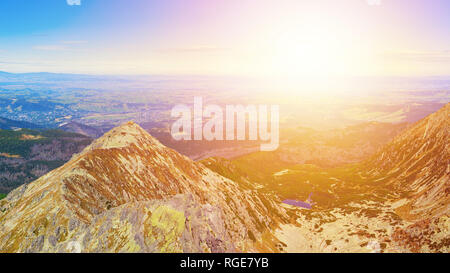 Panorama of  Zolta Turnia Peak and Red Pond at sunset from Skrajny Granat Peak, high Tatra mountains, Poland - Stock Image