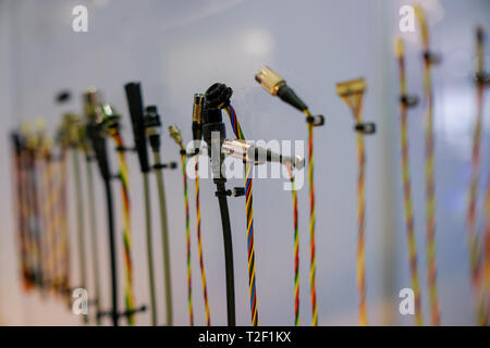 Row of various types of connector heads / connector cables - Stock Image