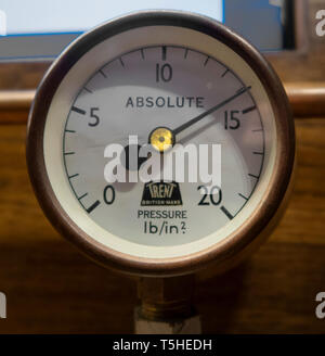 An old trent pressure guage dial, psi, poinds per square inch, - Stock Image