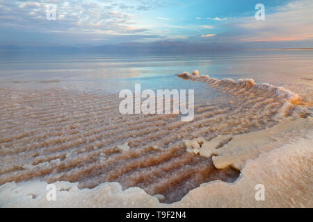 View of Dead Sea coastline at sunset time - Stock Image