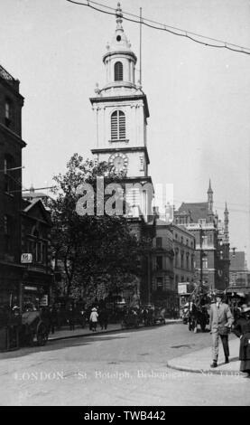 St Botolph Church, Bishopsgate, City of London.      Date: circa 1920 - Stock Image
