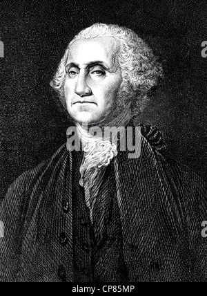 Portrait of George Washington, 1789 - 1797, first president of the United States, historical engraving, 19th Century, - Stock Image