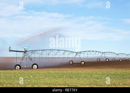 Pivot irrigation system on prairie field - Stock Image