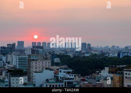 Sunset and Sky line at Ho Chi Minh city, Saigon, Vietnam, Asia, - Stock Image