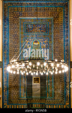 Mihrab ,a semicircular niche in the wall of a mosque that indicates the direction of the Kaaba in Mecca, of the Green Mosque, Bursa, Turkey - Stock Image