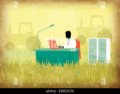 Illustration image of businessman using laptop on agricultural field - Stock Image